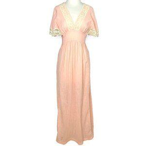 Vintage 70's Pink Lace Maxi Dress